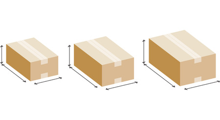Size of cardboard box Illustration
