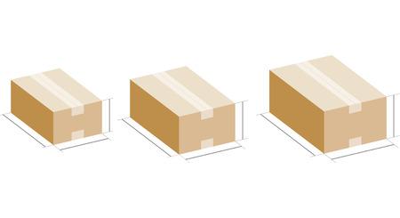 Taille de la boîte en carton Vecteurs