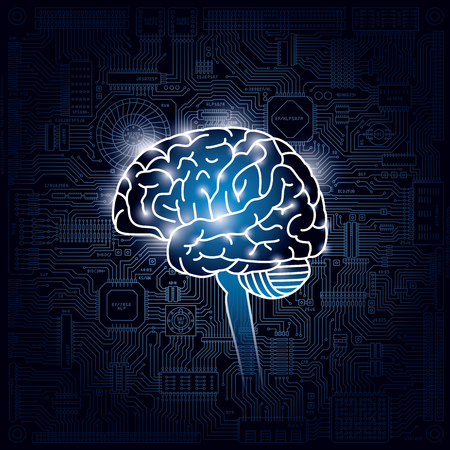 Image of brain and integrated circuits.