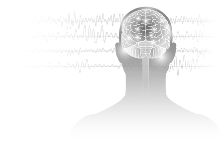 Images of humans and electroencephalograms. Illustration