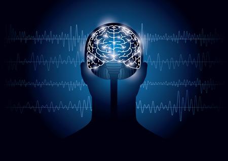 人間と脳波の画像。