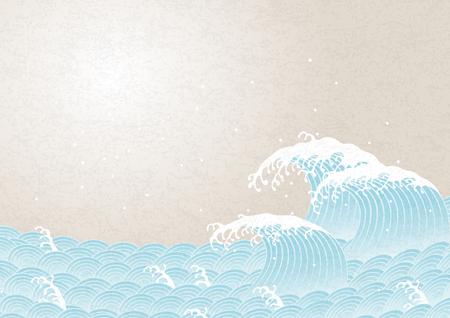 波。日本式の模様。  イラスト・ベクター素材