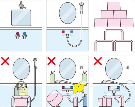 大浴場、お風呂のマナー、漫画のイラストのエチケット。