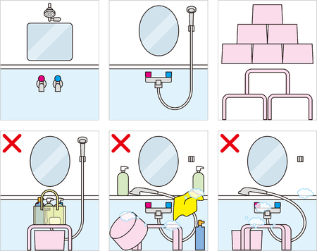 Public bath, Bath manners and etiquette in cartoon illustration.