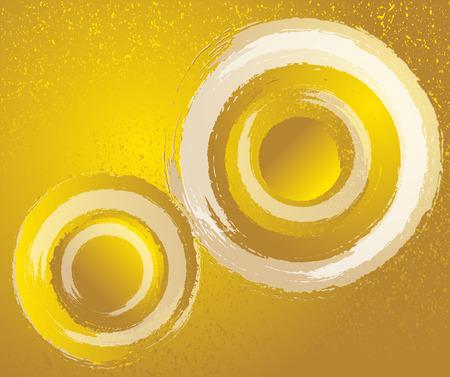 Gold and white. Circular brush line