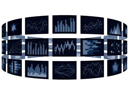 Cylinder chart and chart image isolated on plain background. Illustration