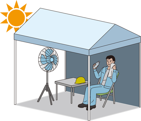 Tent for measures against heat stroke Stock Illustratie