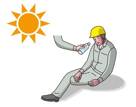 Worker suffering from heat stroke Illustration