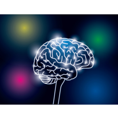 Image of brain electrical signal vector illustration.