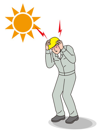 Heat impairment worker with a sun illustration
