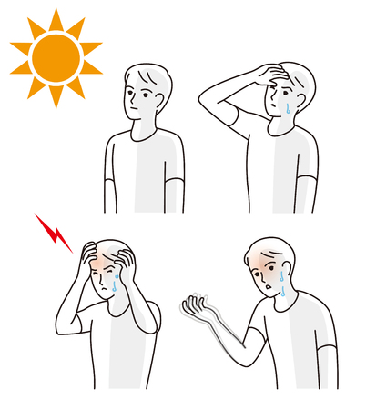 Symptoms of heat stroke Illustration