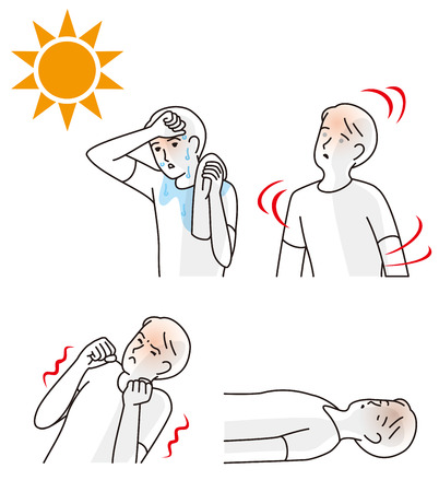 Symptoms of heat stroke illustration.