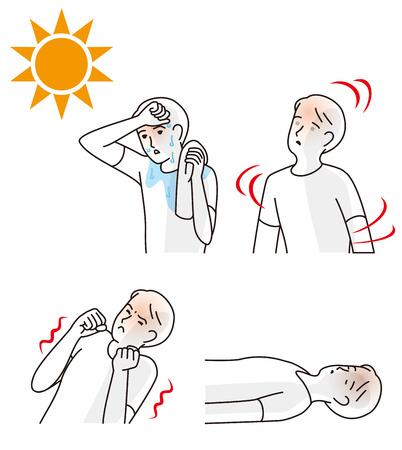 Symptomen van illustratie van een zonnesteek.