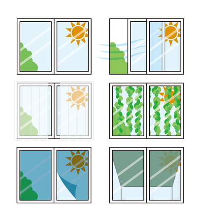 Measures against heat of windows Stock Illustratie