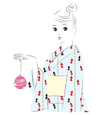A girl wearing a goldfish pattern dress