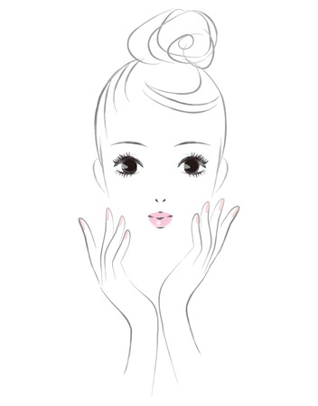 The face of a woman in skin care. Beauty image.  イラスト・ベクター素材