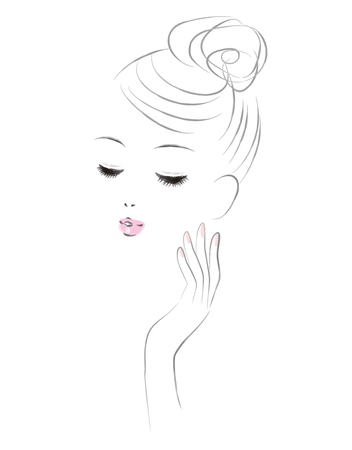 The face of a woman in skin care. Beauty image. Ilustração