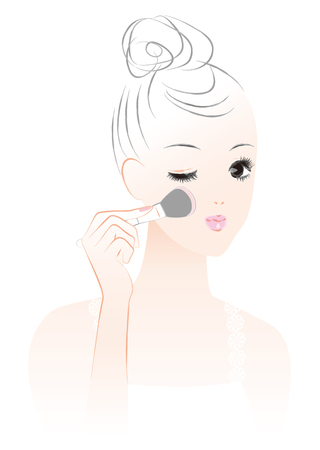A woman who paints teak. Makeup. Vektorové ilustrace