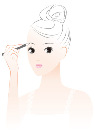 woman who makes a makeup. Eyebrow. Stock Illustratie