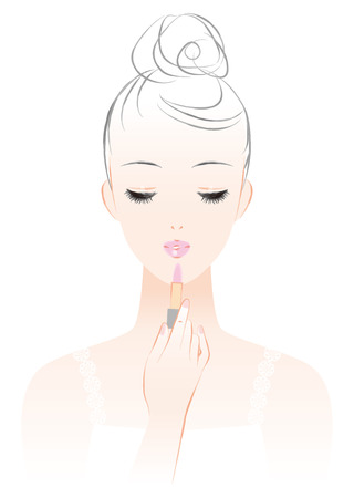 A woman who makes a makeup. Apply lipstick.