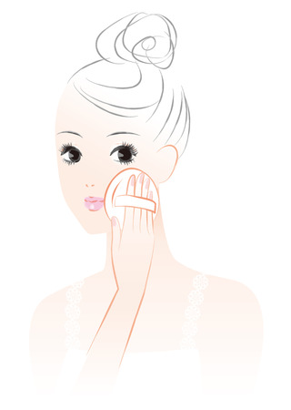 A woman who makes a makeup. Powder powder foundation. Stock Illustratie