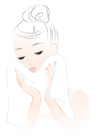 A woman wiping his face with a towel. skin care 矢量图像