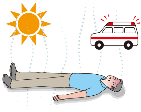 Senior citizens receiving first aid for heat stroke