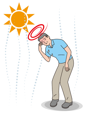 Symptoms of heat stroke of aged person. Dizziness.