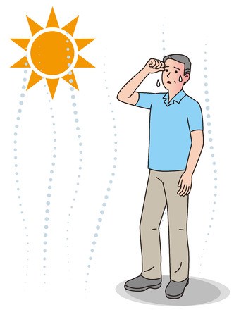 Symptoms of heat stroke of aged person.