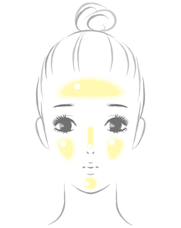 woman whose sebum floated on her face Illustration