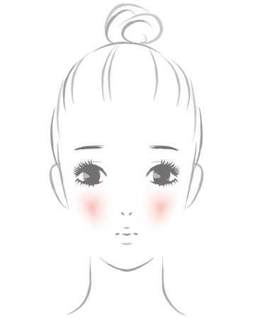 Women suffering from red cheeks Ilustração
