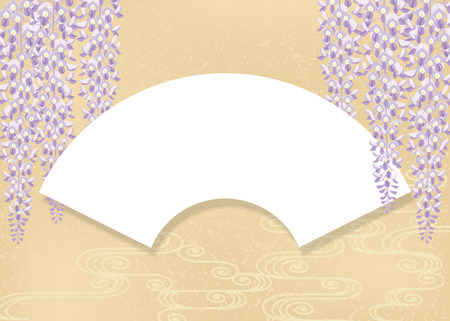 An illustration of wisteria flower, fan and stream water. Japanese style image.