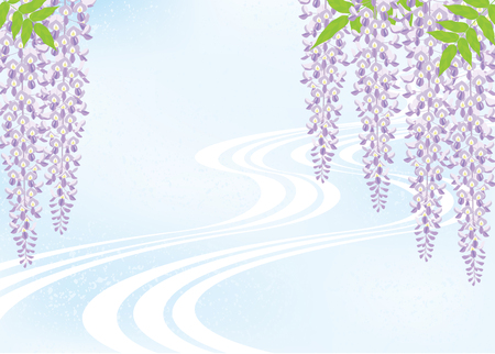 Wisteria flower and flowing water. Japanese style image. Illustration