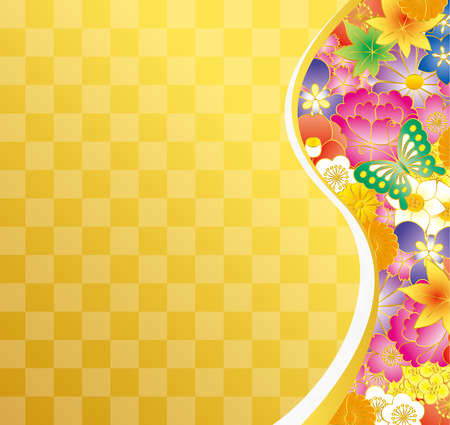 Japanese style material of flowers. Illustration