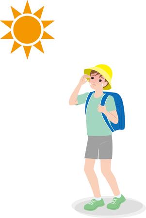 Elementary school student going to school under hot weather, risk of heat stroke.