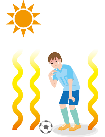A boy who plays football in a hot weather, the danger of heat stroke. Illustration