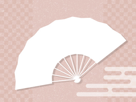 Holding fan and checkered pattern.The Japanese background material. Illustration