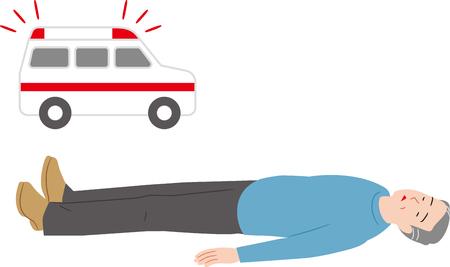 Fainted senior citizen and ambulances