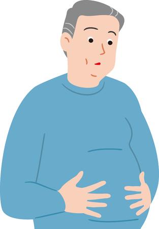 senior citizen of obese Illustration