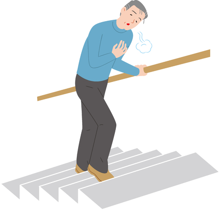 Breath and climb the stairs is painful senior citizen