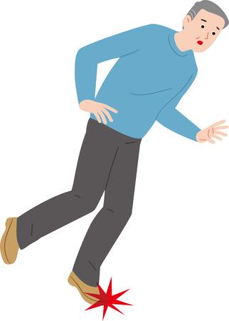 Foot stumble senior citizen Illustration