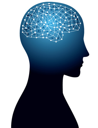 Brain and network image Vektorové ilustrace