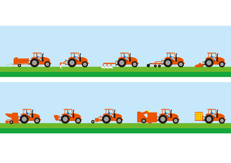 Agricultural tractor and agricultural work Illustration