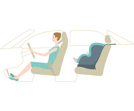 Child car seat and mother driving (Isofix) Illustration