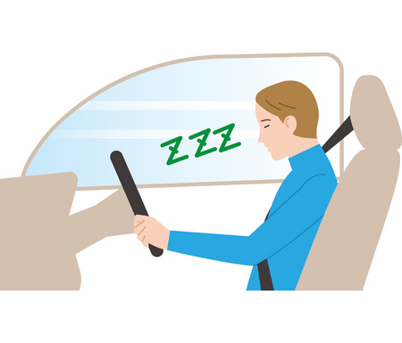 Dangerous driving.asleep driving. Illustration