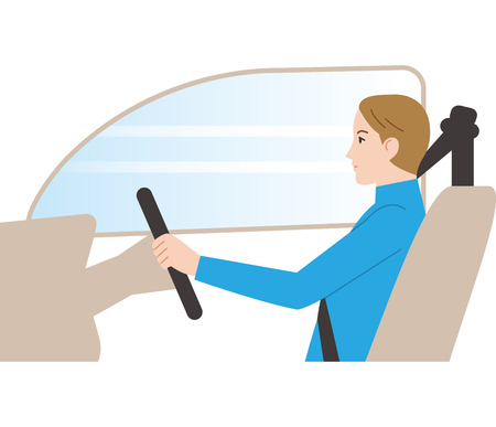 Dangerous driving. Remove the headrest and drive. Illustration