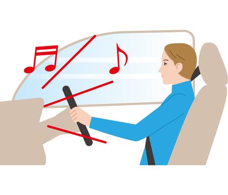Dangerous driving. Loud volume.  イラスト・ベクター素材