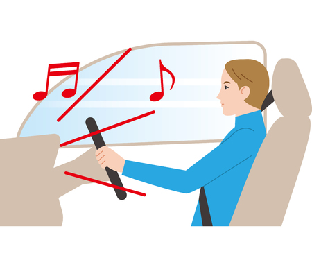 Dangerous driving. Loud volume. Illustration