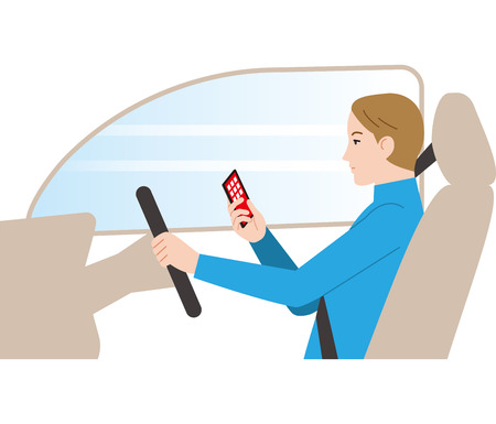 Dangerous driving. Driving while watching smartphone.