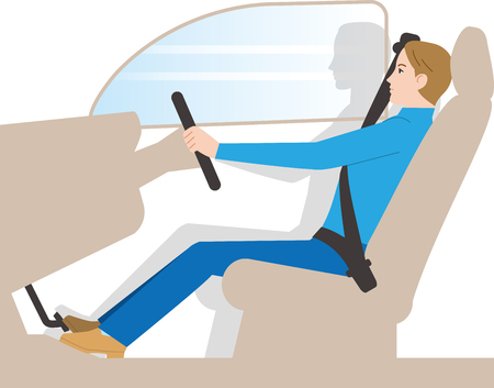 Driving posture of a car Ilustrace
